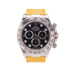 Used Rolex Daytona 116519 G F No. Ss / Leather Black Letter Board 8 P Diamond Automatic Men's Watch ◇