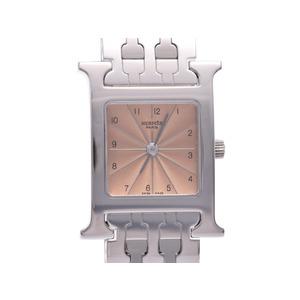 中古 エルメス ラムシスHH1.210 ピンク文字盤 SS クオーツ レディース 腕時計 HERMES◇