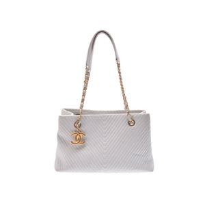 Chanel V Stitch Leather Tote Bag White