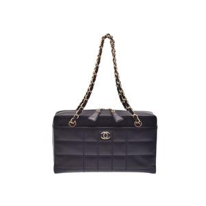 Chanel Chocolate Bar Women's Leather Shoulder Bag Black