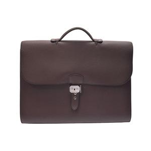 Hermes Sac A Depeche Togo Leather Bag Black,Brown