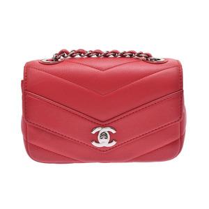 Used Chanel V Stitch Chain Shoulder Bag Caviar Skin Red Sv Hardware Galler ◇