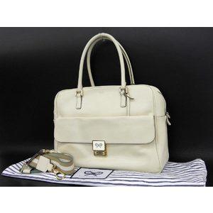 Anya Hindmarch Anya Culver 2way Handbag Shoulder Tote Leather Ivory [20180705]