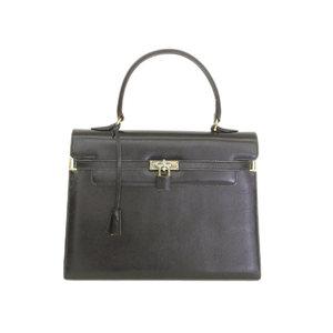 Morabito Moravito Scalar Leather Turn Lock Handbag Black [20180712]