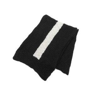 モンクレール(Moncler) MONCLER モンクレール ライン入り ロングマフラー ニット 黒 ブラック 白 ホワイト  [20180112]