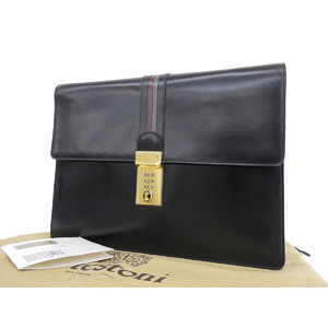 A.testoni A · Testoni Leather Dial Lock Clutch Bag Second Black [20180710]
