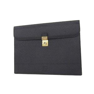 Loewe Loewe Anagram Leather Clutch Bag Second Briefcase Document Putting Black [20180604]