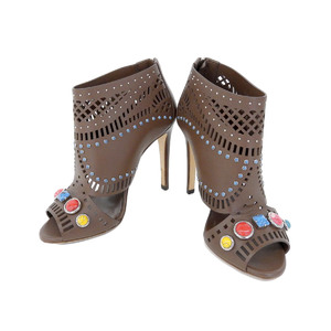 Gucci Gucci Women's Open Toe Multi Stars Booty Sandals Cut Leather Stone Brown Size 36 About 23 Cm [20180712]