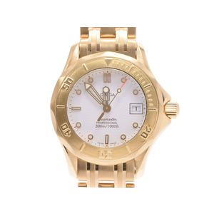 Second Hand Omega Seamaster 300 Yg White Dial Quartz Ladies Watch ◇