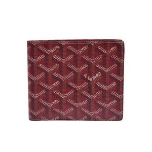 Used Goyaru Two Fold Wallet Pvc Herringbone Red Box Goyard ◇
