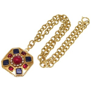 Chanel Color Stone Gold Necklace Vintage Accessory 0467