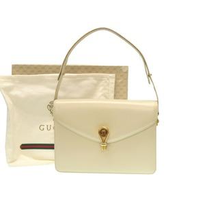 Gucci 2 Way Old Shoulder Bag Leather Ivory 0428