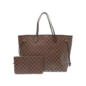 Like New Louis Vuitton Damier Neverfull Gm N41357 Ebene Tote Bag With Pouch Lv 0435
