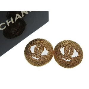 Chanel Coco Mark Vintage Earrings Gold Women's Accessories 0283