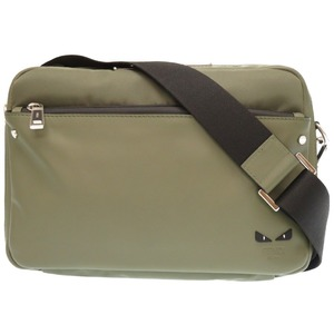 Fendery Monster Messenger Shoulder Bag As New 7va411-60d Leather / Nylon Green 0363fendi Men's