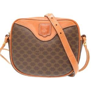 Celine Pearl Pattern Vintage Shoulder Bag Diagonal Wrapping Leather Pvc Brown 0499