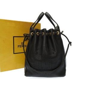 Fendi Vintage Leather Black 2 Way Bag Gold Hardware Handbag 0556 Women's