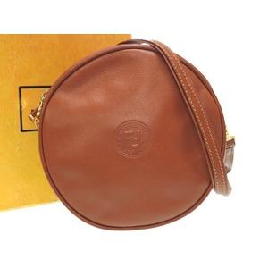 Fendi Vintage Brown Leather Shoulder Bag Gold Hardware 0555