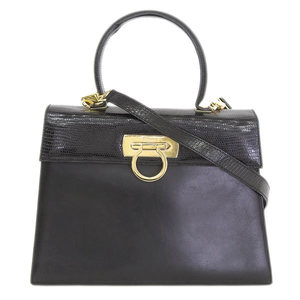 Salvatore Ferragamo Ferragamo Ferragamo Leather 2 Way Hand Shoulder Bag Black 21 2181