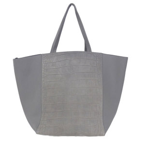 Celine Celine Cuban Phantom Embossed Leather Tote Bag Gray