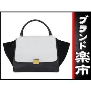 Celine Celine Suede × Calf Trapes 2 Way Bag Black White