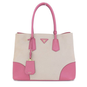 4339d31ccd28 ... low price prada prada 2 way tote bag canvas saffian pink c7bb2 bb5e6  germany prada suede leather ...