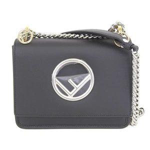 Fendi Fendi Cannyf Shoulder Bag Leather Black 8bt 286