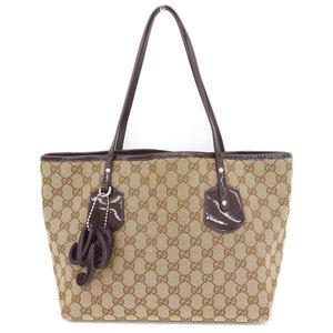 Gucci Gucci Gg Canvas Patent Leather Tote Bag Beige Dark Purple 211976