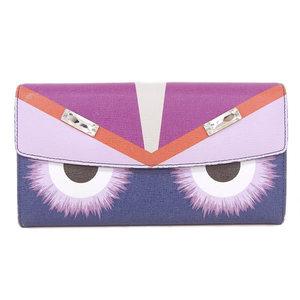 Fendi Fendi Bag Bugs Monster Long Purse Bijou Navy Pink 8m0340 Wallet