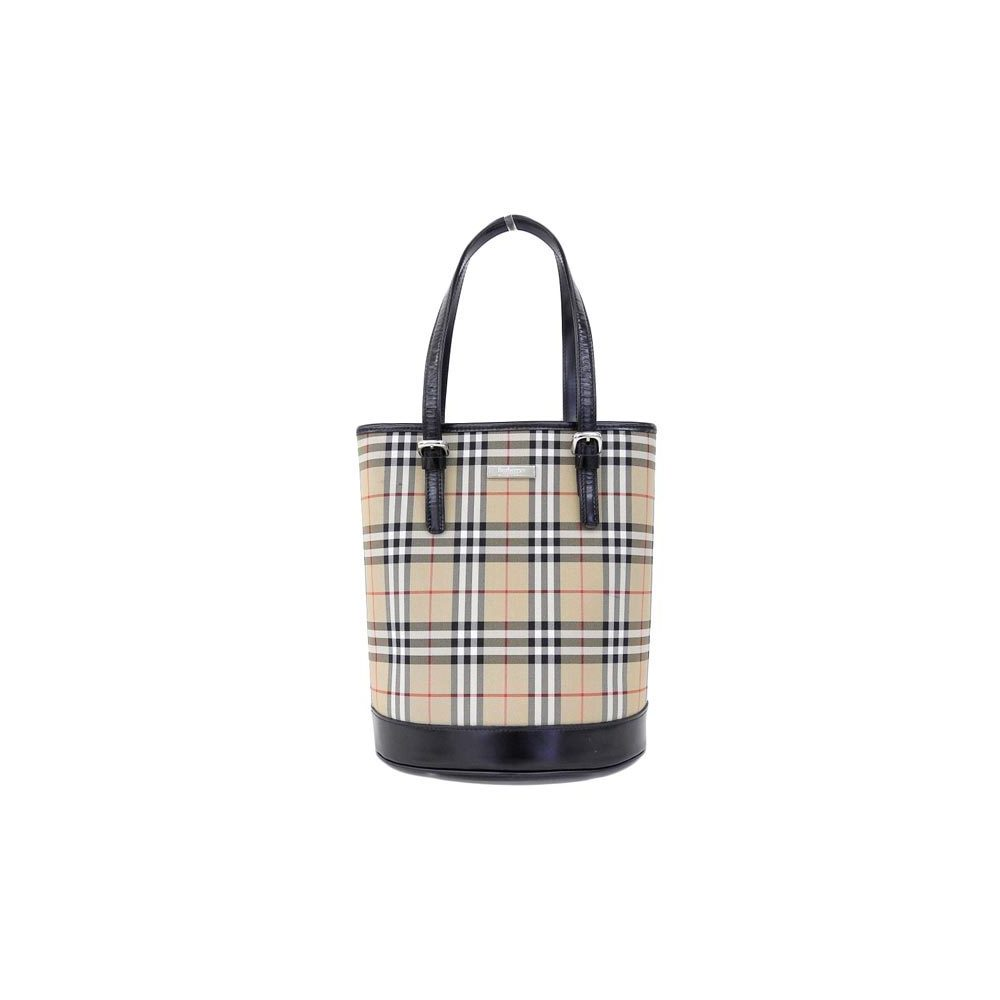 Burberry Canvas,Leather Tote Bag Beige,Black