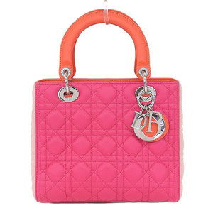 Christian Dior Lady Dior Leather Handbag,Shoulder Bag Orange,Pink