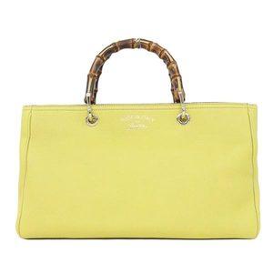 Gucci Gucci Bamboo Leather 2way Handbag Yellow 323660 Bag