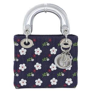 Christian Dior Mini Lady Flower 2way Handbag Denim Navy Bag