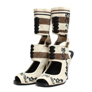 Fendi Cut Out Sandals Floral Embroidery 36 Creams × Brown Women