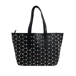 Jimmy Choo Sofia / M Star Studded Tote Bag Black Silver Hardware Smooth Leather Ladies