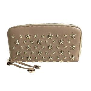 Jimmy Choo Filipa Star Studs Round Wallet Beige Nude × Gold Metal Fittings Leather Ladies