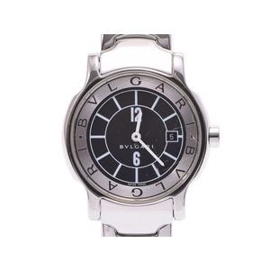 中古 ブルガリ ソロテンポ29 SS 黒文字盤 ST29S クオーツ 腕時計 レディース BVLGARI◇
