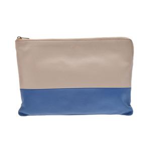 Used Celine Clutch Bag Lambskin Beige / Blue ◇