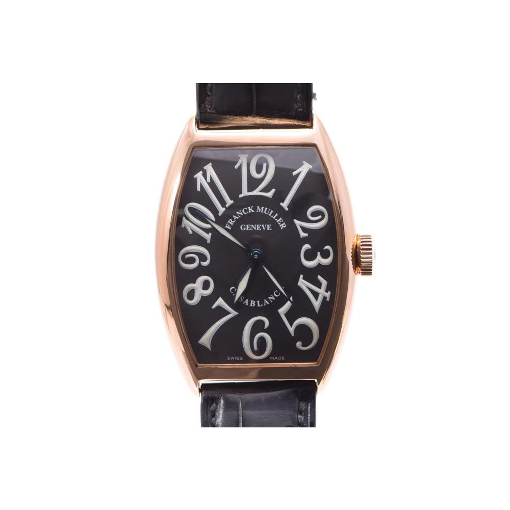 中古 フランクミュラー カサブランカ 5850CASA PG/革 自動巻 2001年正規品 箱 ギャラ メンズ 腕時計 FRANCK MULLER◇