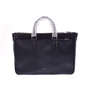 Second Hand Coach Briefcase Leather Navy Business Bag Not Used ◇