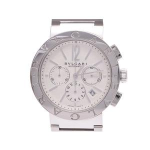 中古 ブルガリ ブルガリブルガリ42 クロノ SS 白文字盤 自動巻 腕時計 メンズ BVLGARI◇