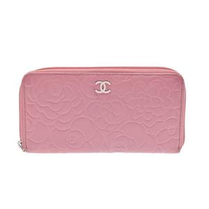 Second-hand Chanel Camellia Round Zipper Long Purse Lambskin Pink Gala ◇