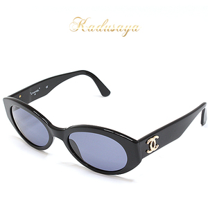 Chanel Coco Mark Sunglasses Black / Gold Plastic 03517 94305 Front Width 140 Height 44 Length 135 Mm