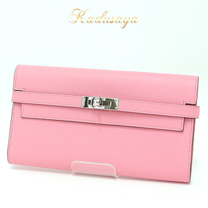 Hermes Kelly Wallet Long Vaugh Epson Rose Confetti R Engraved (Made In 2014) Folded