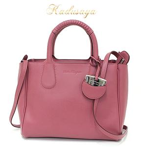 Salvatore Ferragamo Nolita 2 Way Handbag Leather Dark Pink Shoulder Bag Ee21 E621