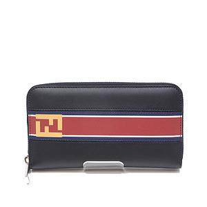 Fendi Round Fastener Wallet 7m0210 Bl.notte × Mlc Pallad Unused Item