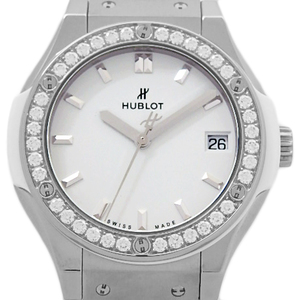 Hublot Classic Fusion Titanium Diamond Bezel Ti 581 - Ne 2010 Lr 1204 Quartz Womens White Dial