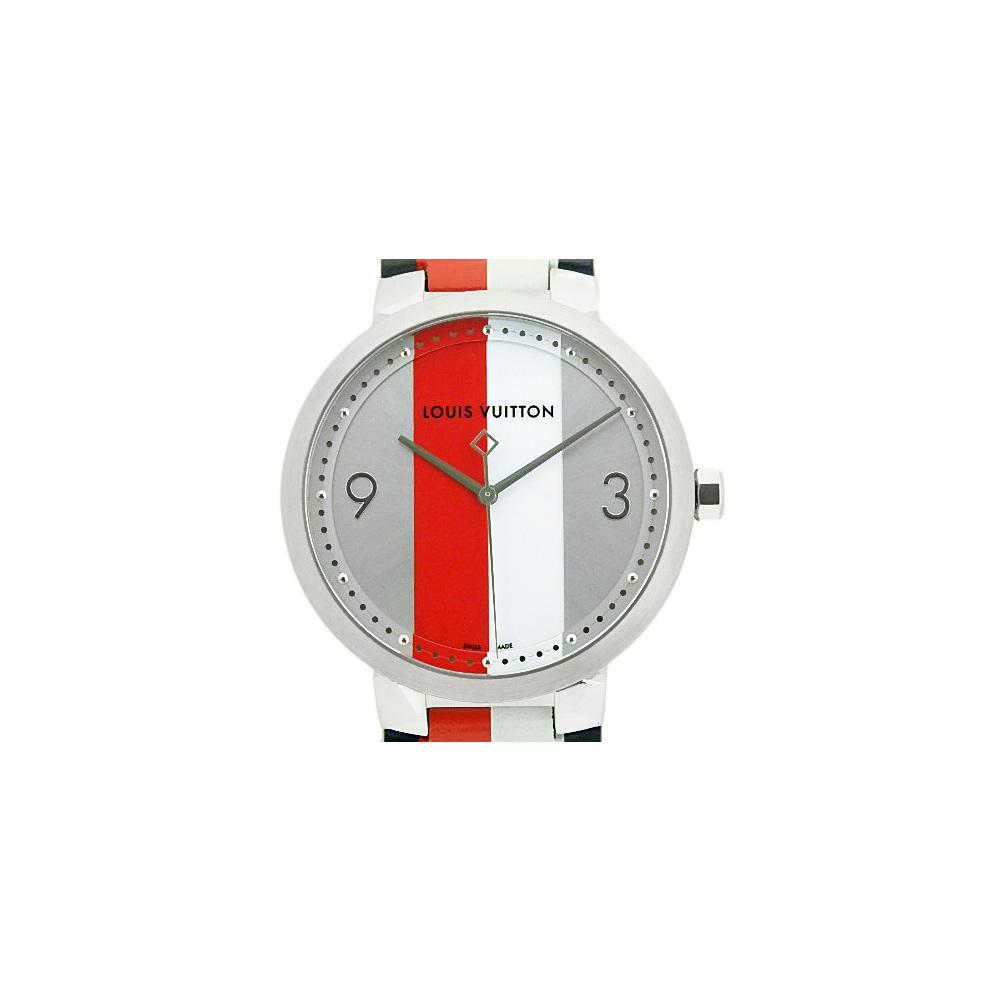 Louis Vuitton Tambour Slim Kim Jones Q1d020 Mens Quartz Silver Dial