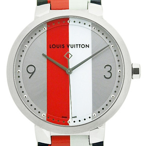 Louis Vuitton Tambour Slim Kim Jones Q1d020 Mens Quartz Silver Dial