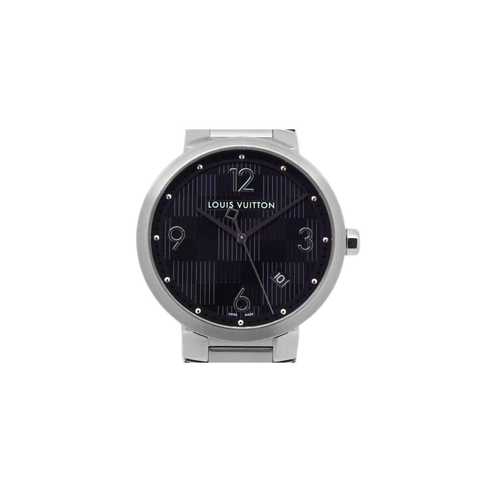Louis Vuitton Tambour Q1d001 Damier Mens Quartz Black Character Board